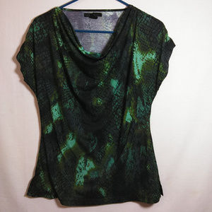 Kenneth Cole Womens Small Green Reptile Blouse S